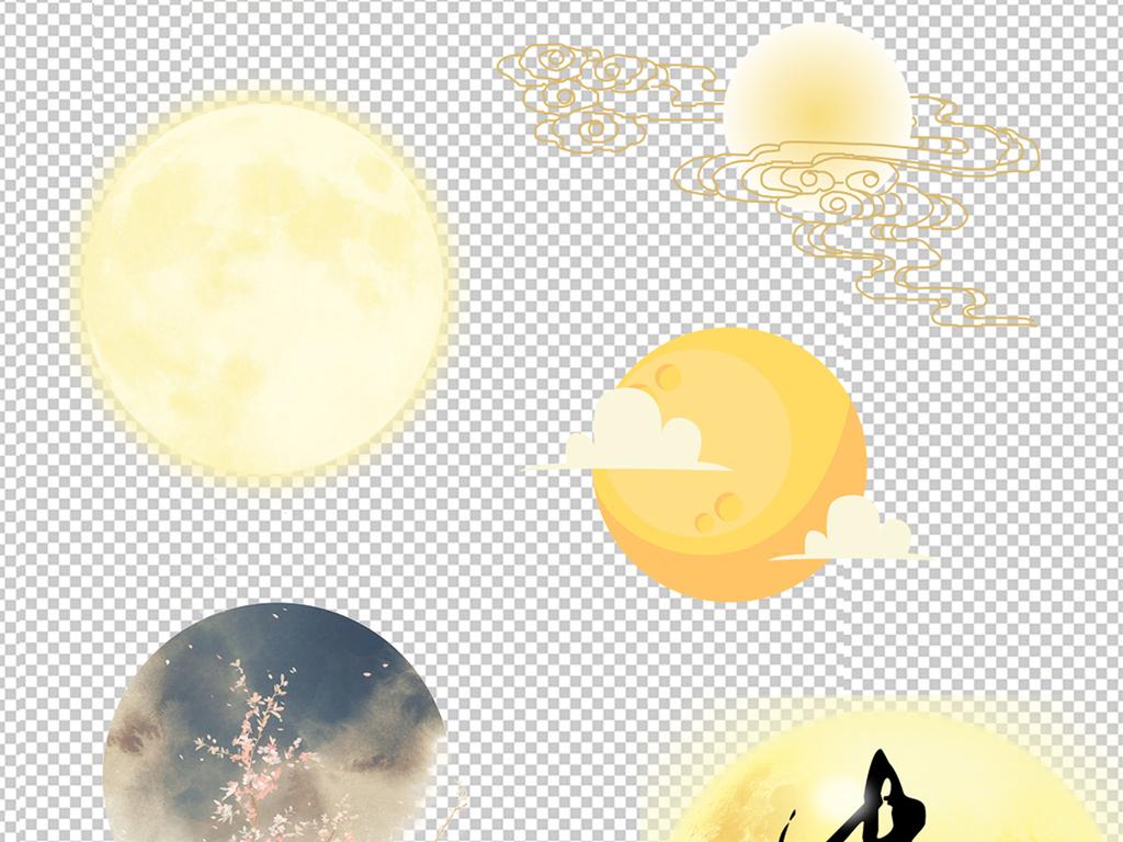 设计元素卡通人物卡通小白兔圆月团圆月亮中秋