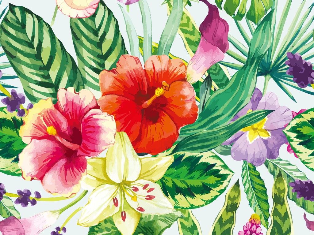 热带清新水彩花卉图案图片下载psd素材-植物花卉图案