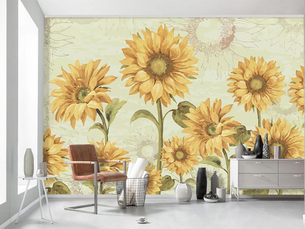 背景墙|装饰画 电视背景墙 手绘电视背景墙 > 手绘美式田园向日葵花卉