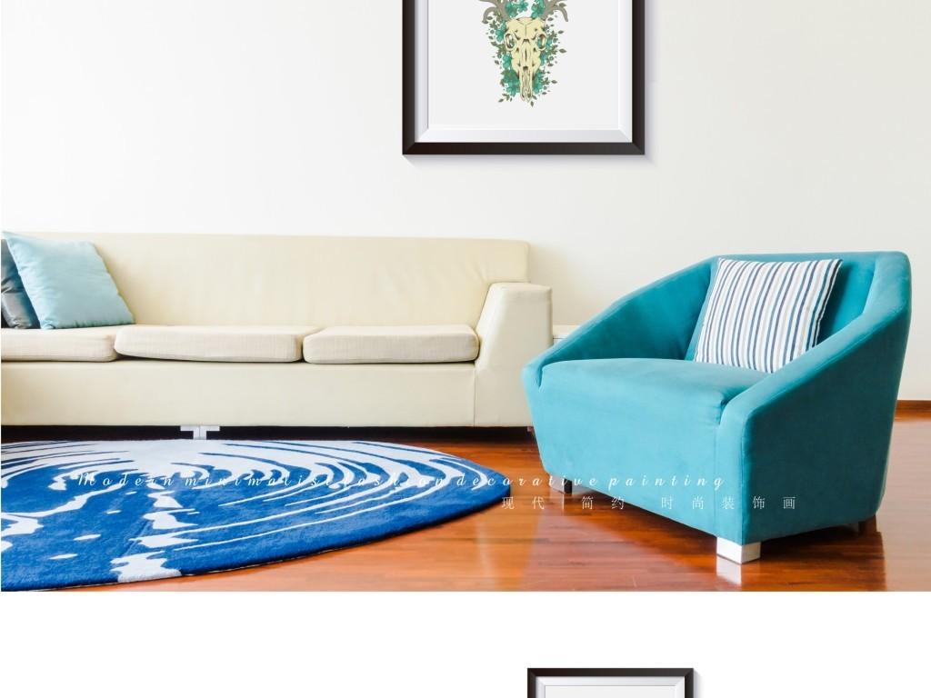抽象手绘水彩牛头装饰画