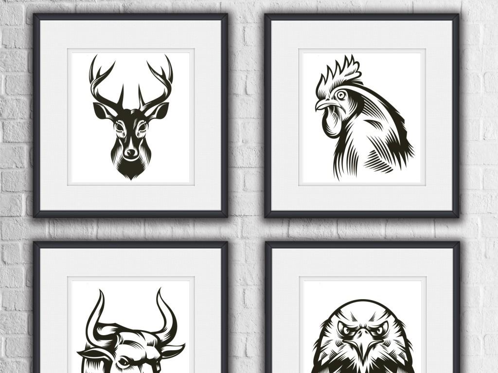 线描黑白动物抽象简洁时尚装饰画