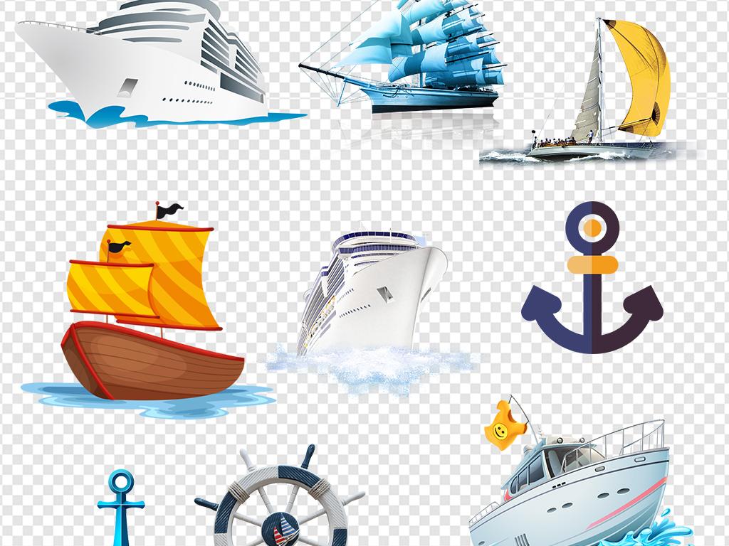 船帆水墨船船锚木船划船手绘船交通工具船游轮素材黑色小船唯美