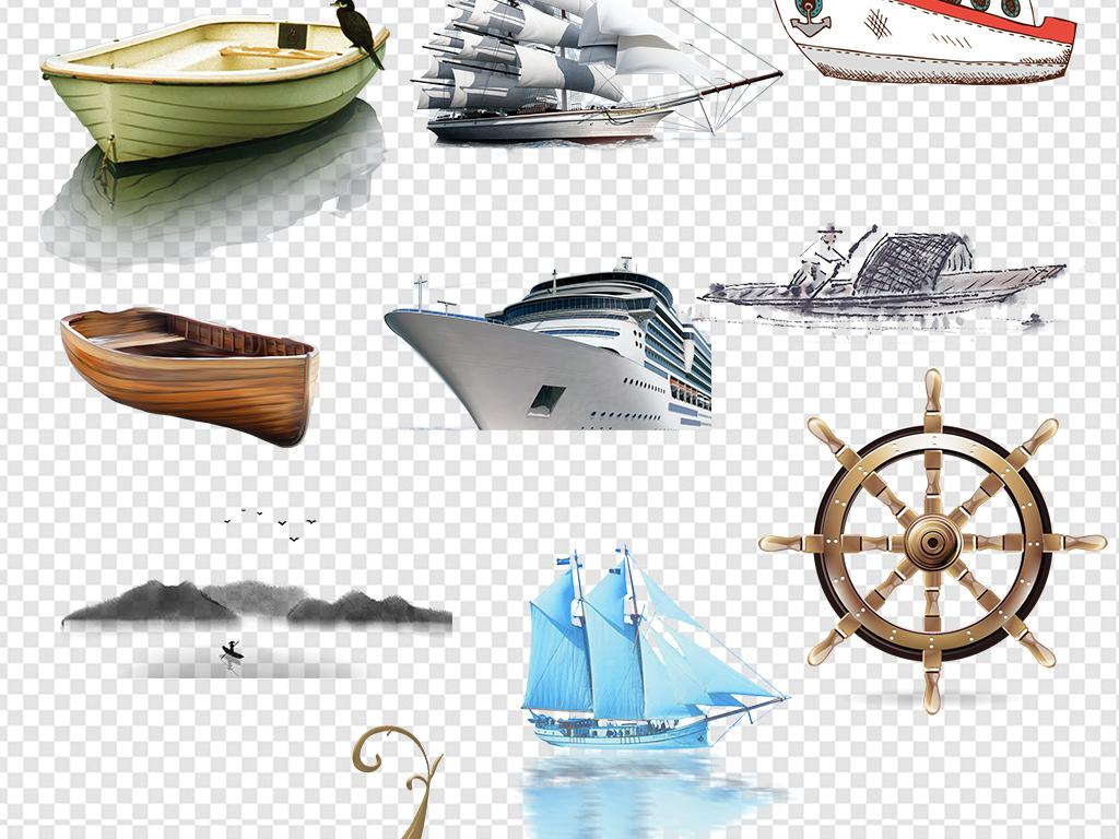 水墨船船锚木船划船手绘船交通工具船游轮素材黑色小船唯美