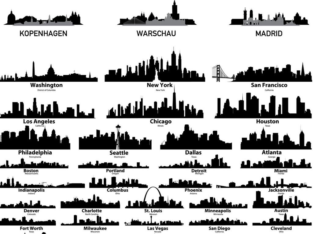 城市建筑剪影矢量素材