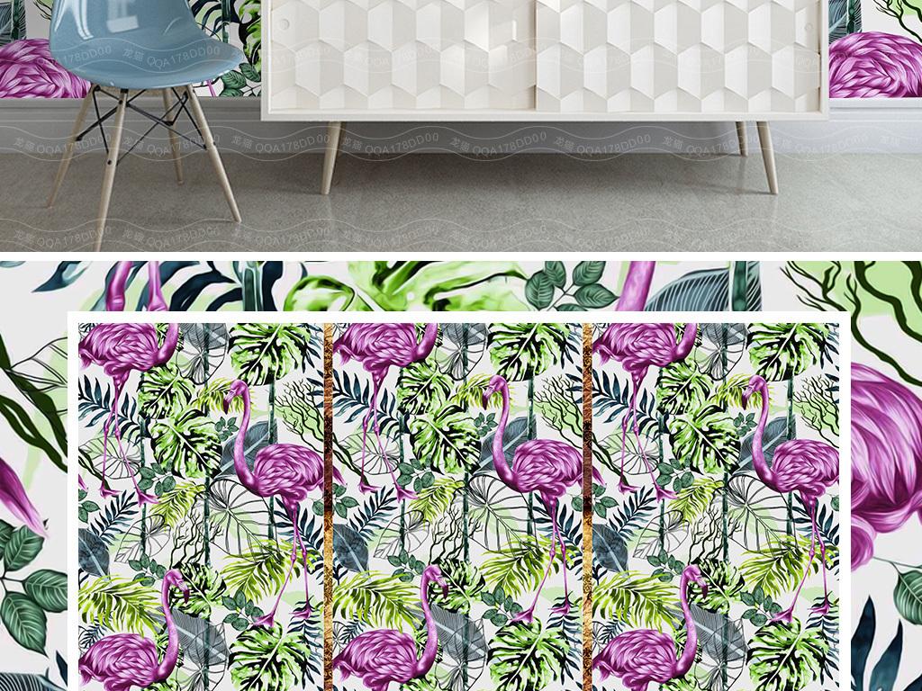 背景墙|装饰画 电视背景墙 手绘电视背景墙 > 欧式热带森林火烈鸟绿植