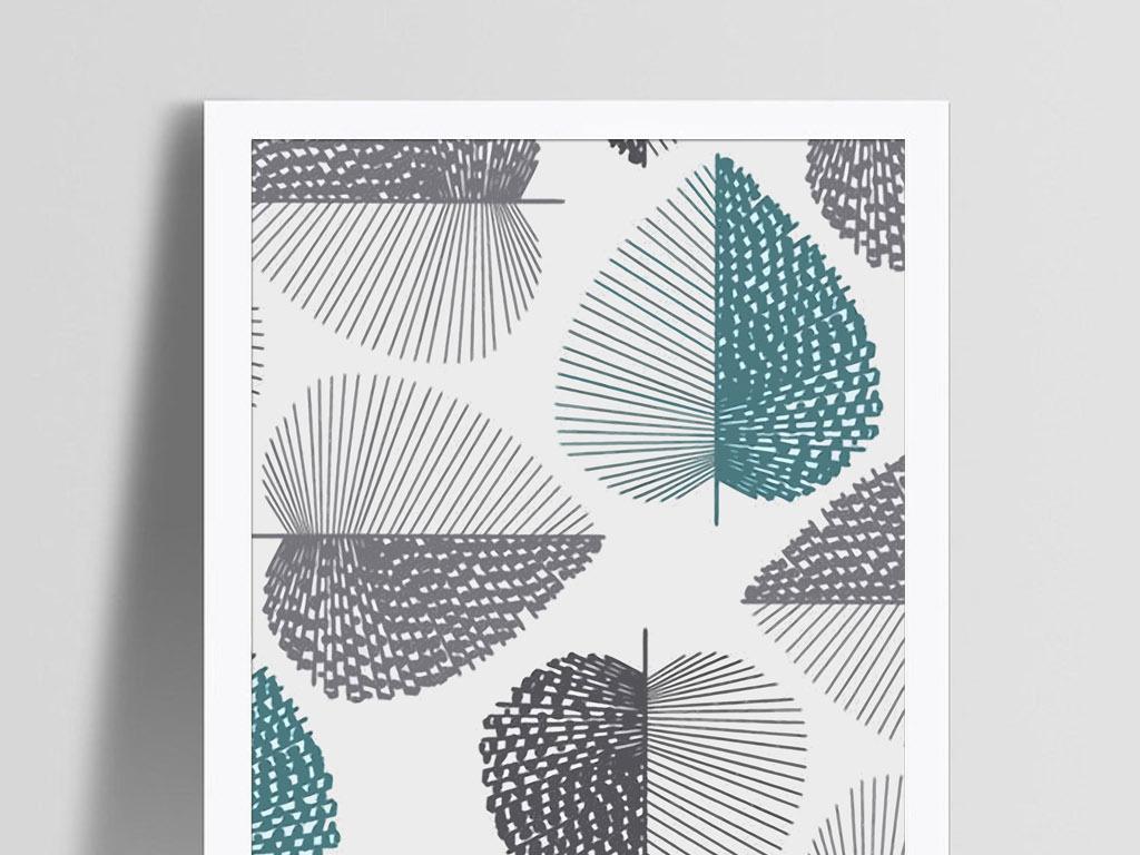 棕树叶子现代北欧简约清新淡雅创意装饰画图片