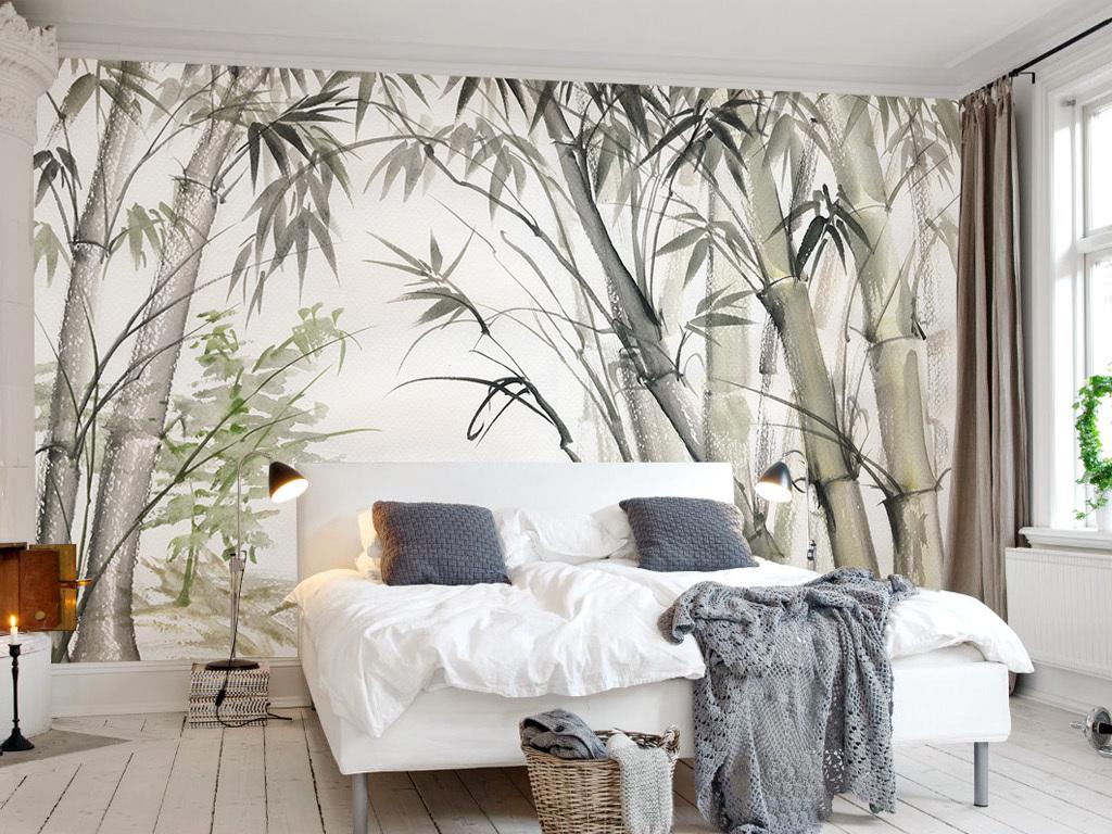 简约手绘水彩竹林北欧新中式电视背景墙