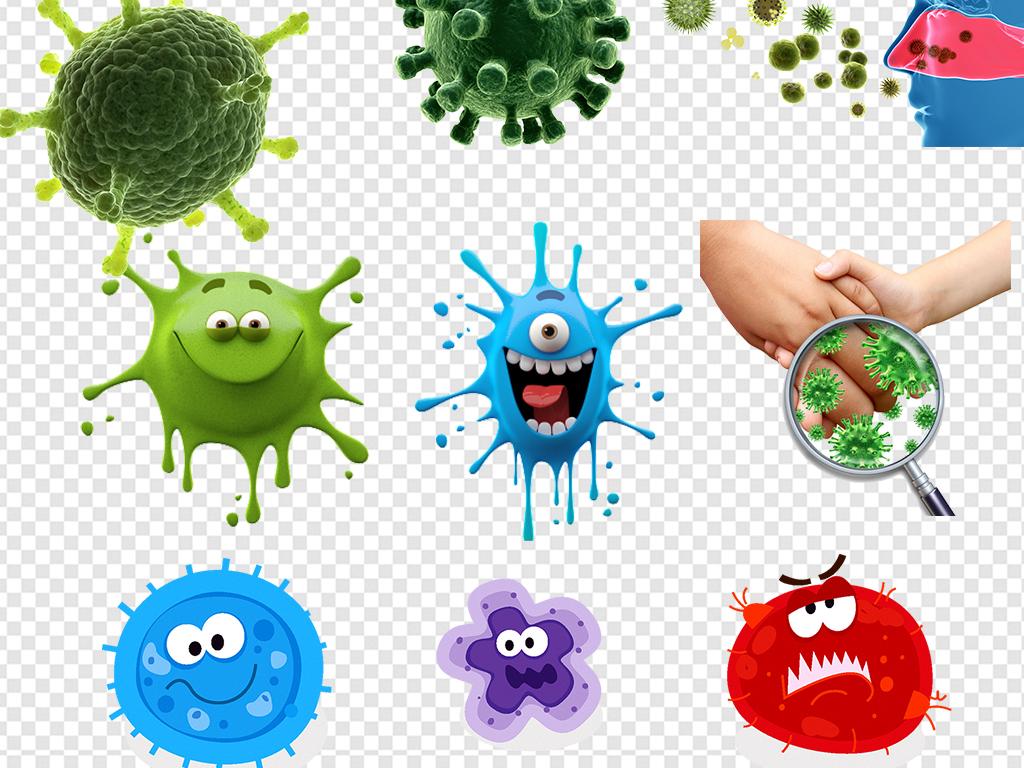卡通细菌真菌病毒病菌图片素材