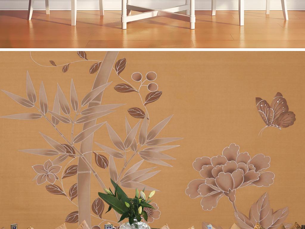 欧式怀旧新中式手绘花鸟竹子田园壁画背景墙
