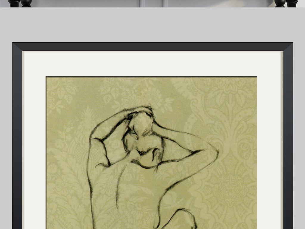 背景墙 装饰画 无框画 人物无框画 > 北欧复古黑白素描裸女二装饰画无