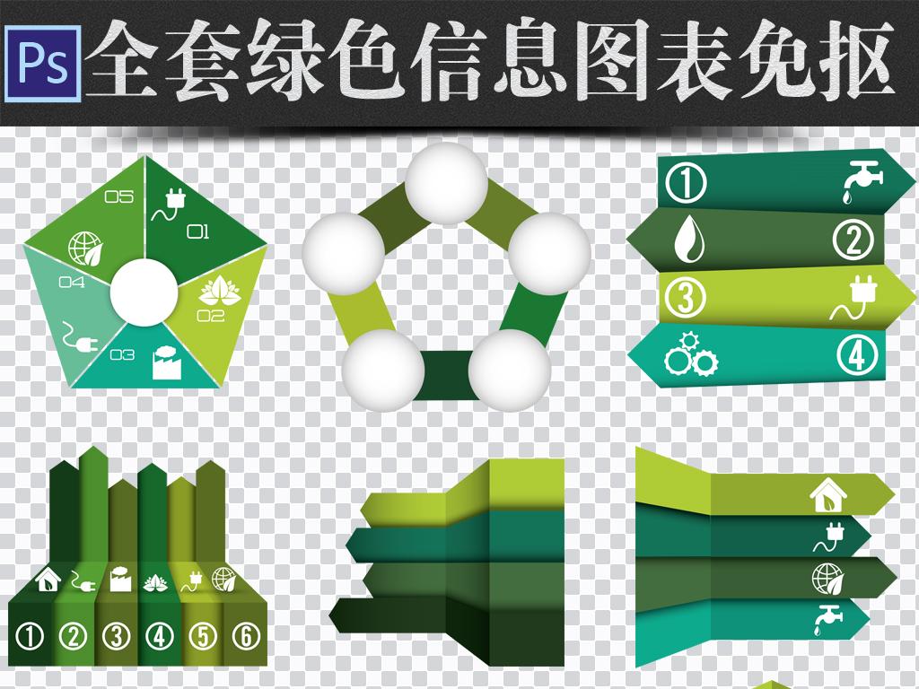全套绿色信息图标免抠ppt素材图片