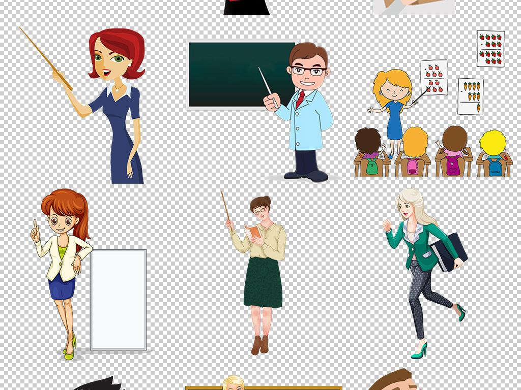 上课教学卡通教师素材教师名片模板教师名片幼儿园教