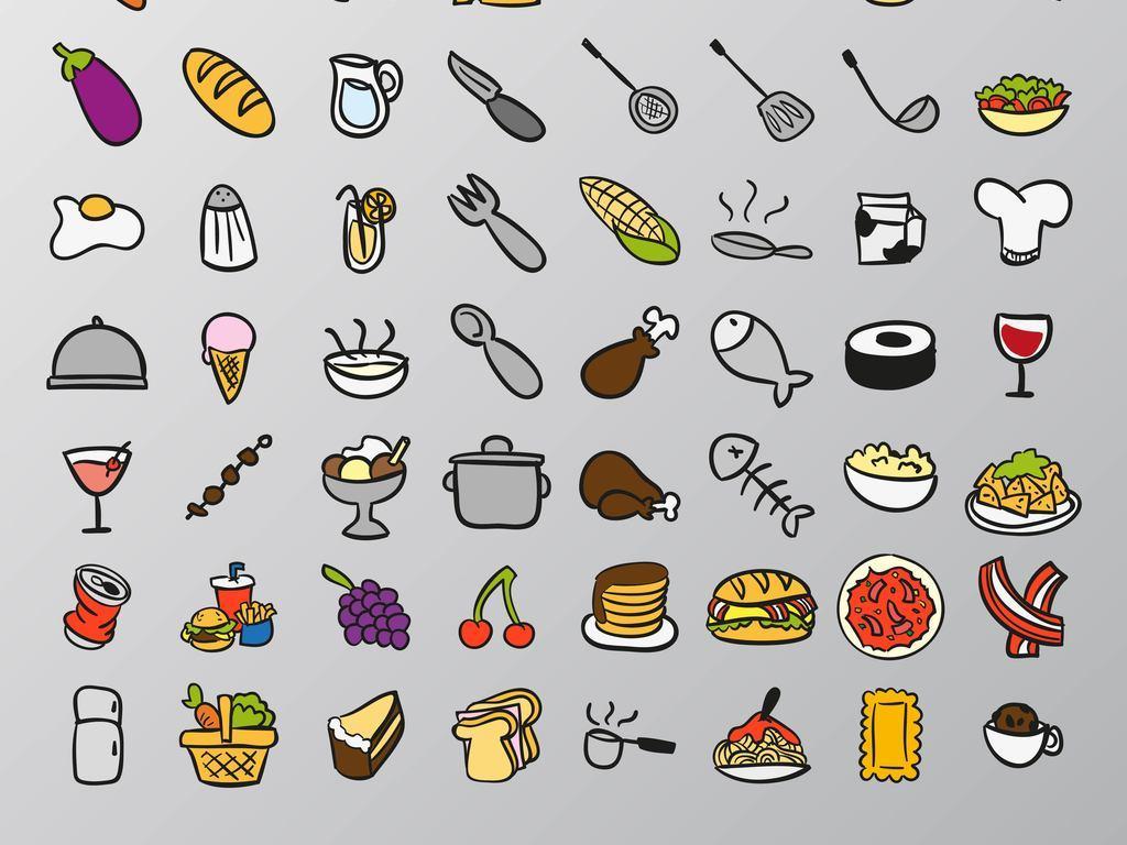 手绘美食和餐具矢量图
