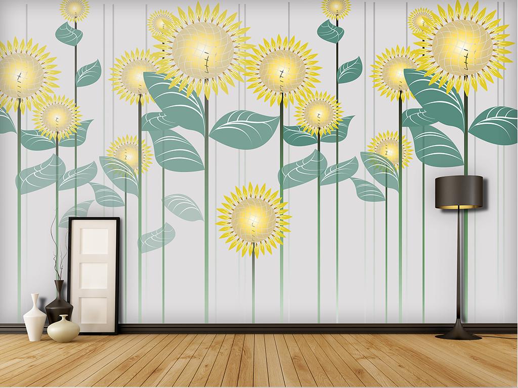 背景墙|装饰画 电视背景墙 现代简约电视背景墙 > 手绘美式田园向日葵