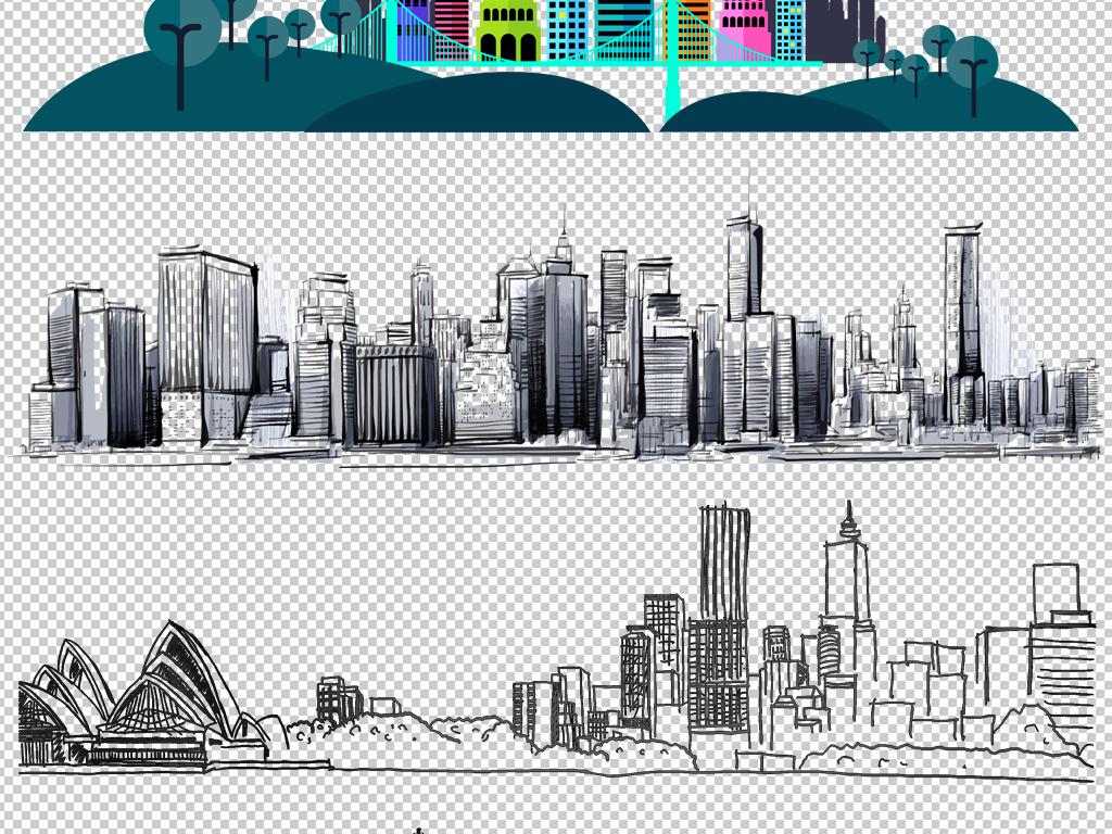 卡通城市建筑素材现代城市剪影png免抠