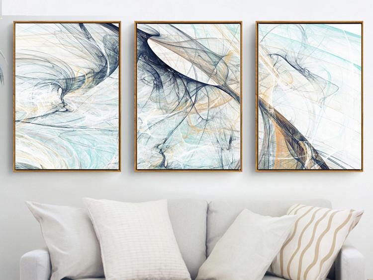 现代简约抽象迷幻线条艺术三联装饰画