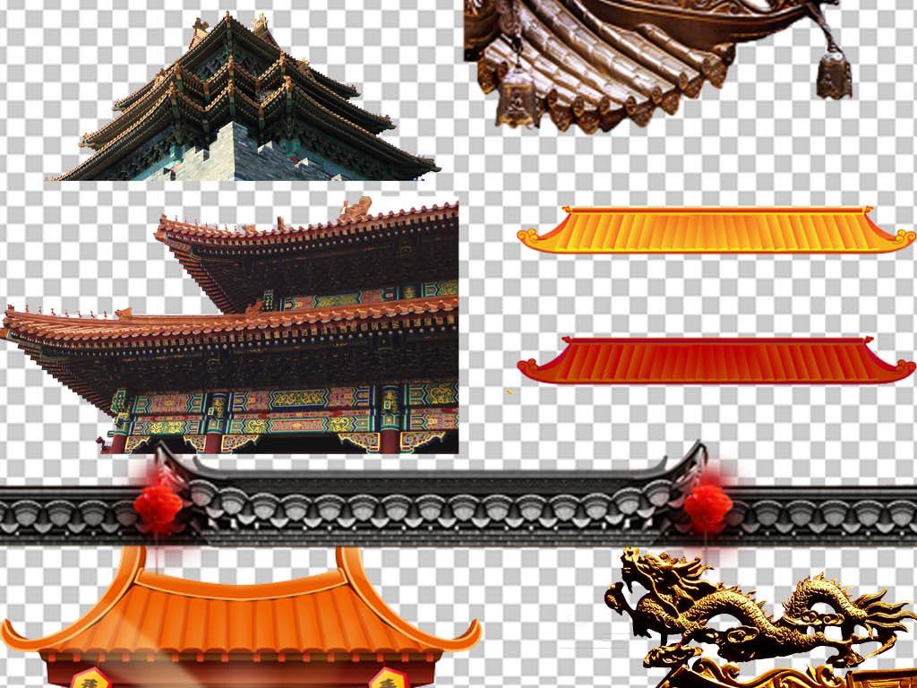 中国风古典传统古建筑屋顶屋檐免扣海报素材