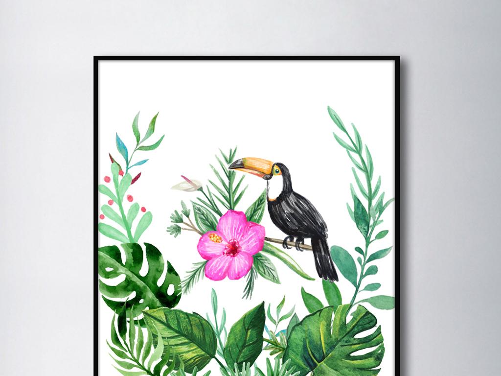 北欧现代清新自然手绘绿植花鸟装饰画无框画