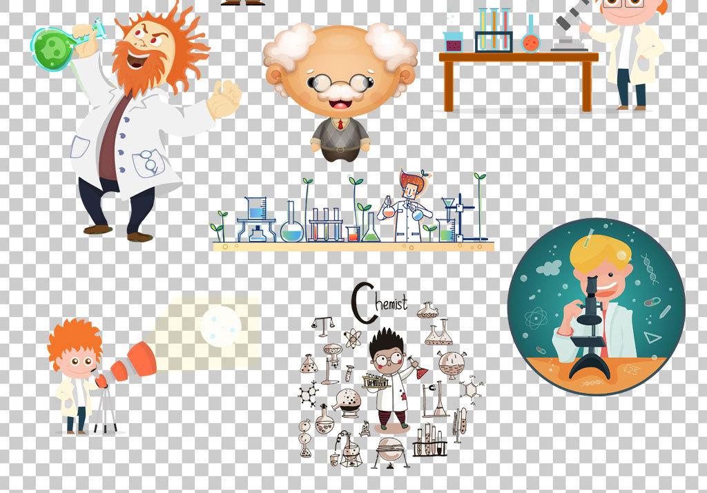 手绘人物疯狂科学地球仪老师素材卡通素材png卡通医学卡通医学素材
