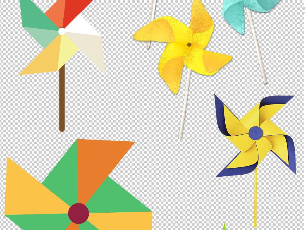 环保素材风车手绘风车电力风车夏日夏季素材多彩风车