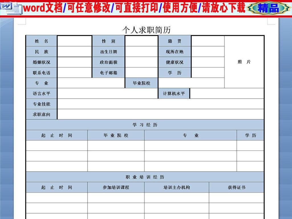 平面设计总监岗位助理个人求职空白简历表格