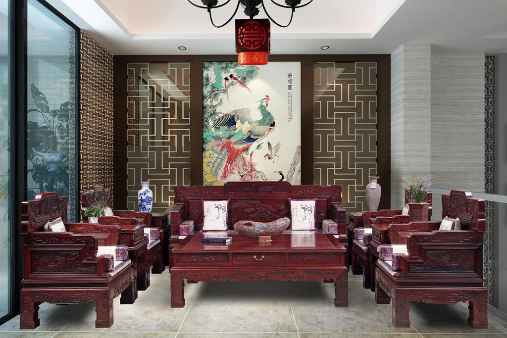 中式客厅装修红木客厅