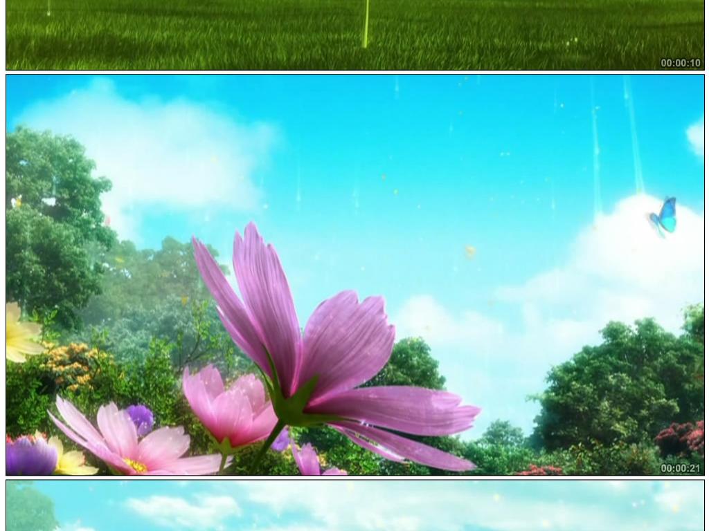 唯美动画森林舞台背景视频素材