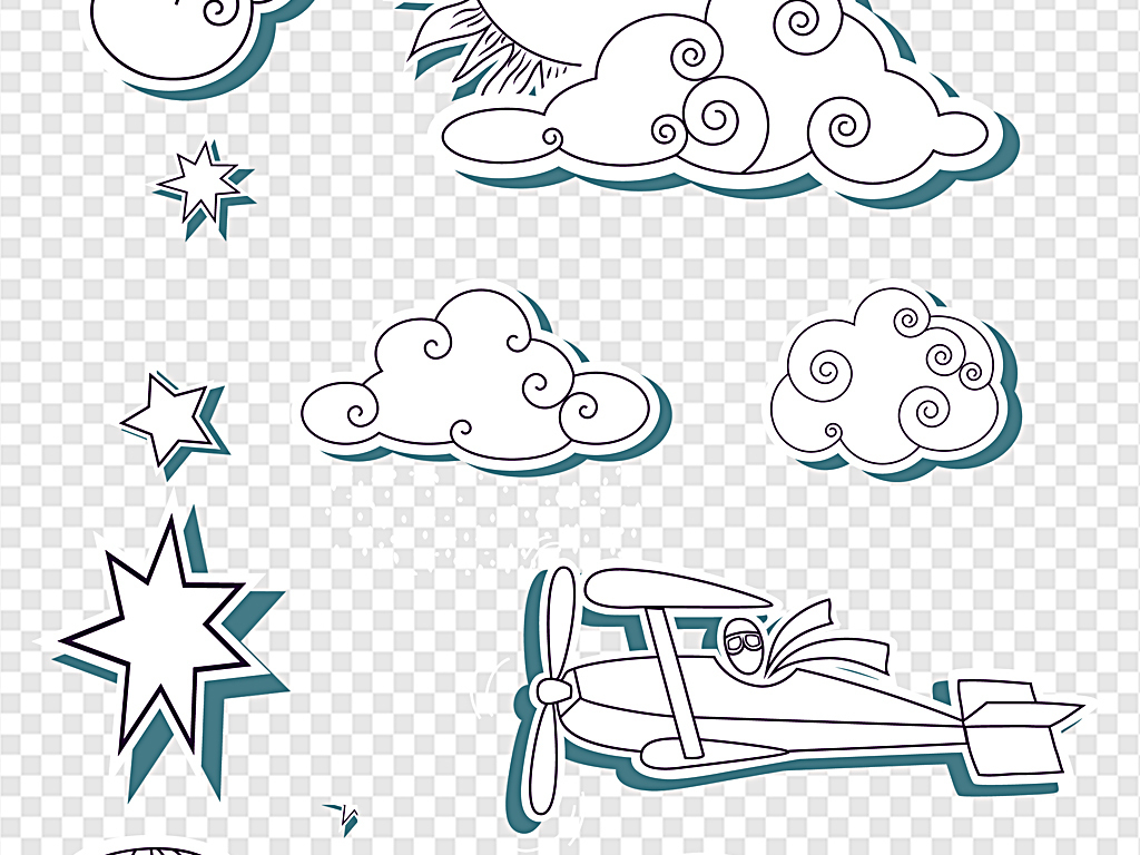 png)卡通手绘云朵边框                                  手绘纸飞机