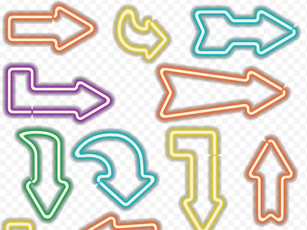 牌子灯牌彩色箭头手绘箭头光效箭头光效字体
