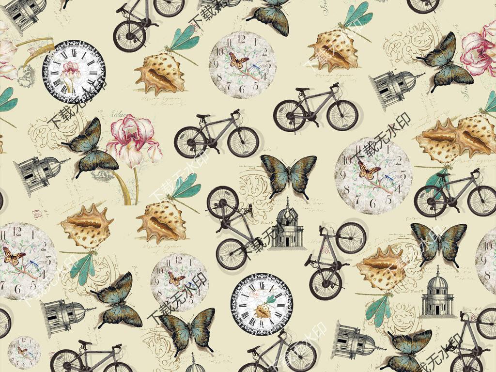 原创手绘单车贝壳蝴蝶怀表图案数码印花花型设计