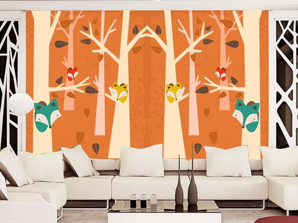 手绘可爱森林小狐狸儿童房背景墙