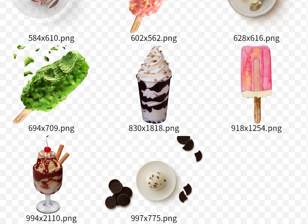 夏季手绘冰淇淋雪糕甜筒促销海报素材
