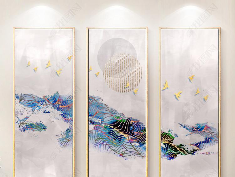 新中式水墨山水简约抽象装饰画