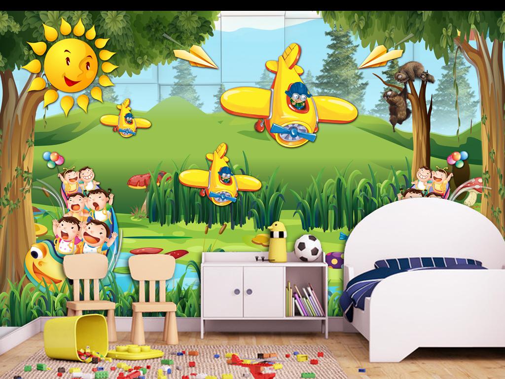 梦幻森林梦幻卡通儿童房小孩房壁画
