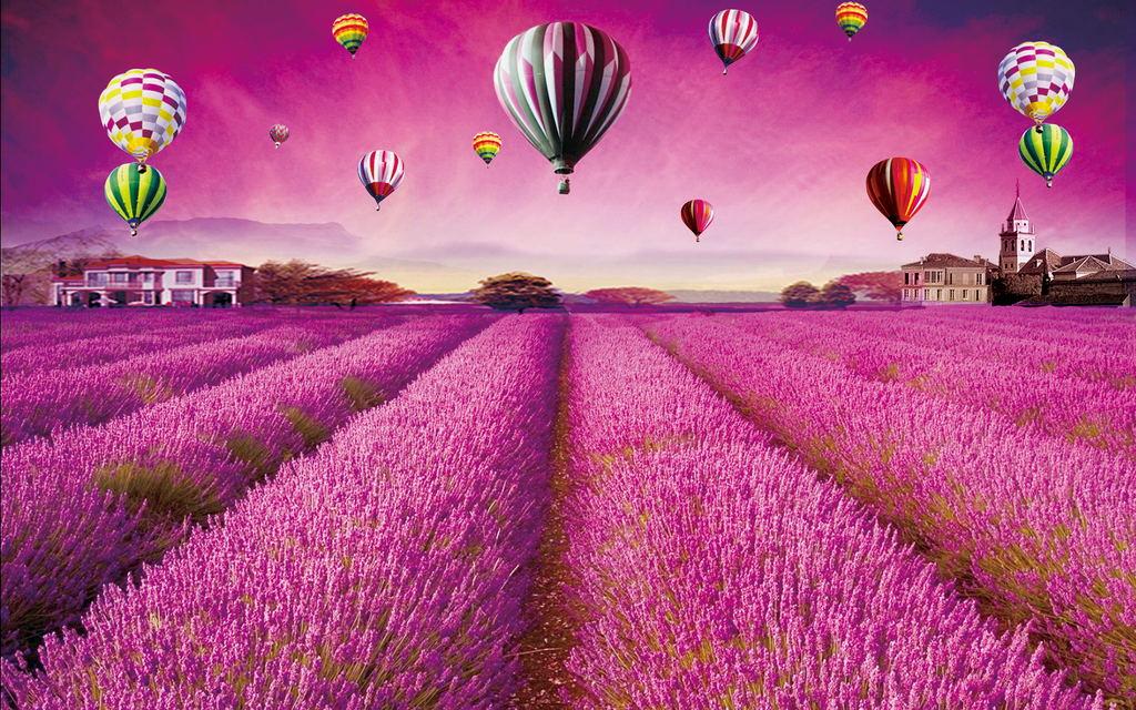 薰衣草紫色浪漫唯美花海背景墙装饰画