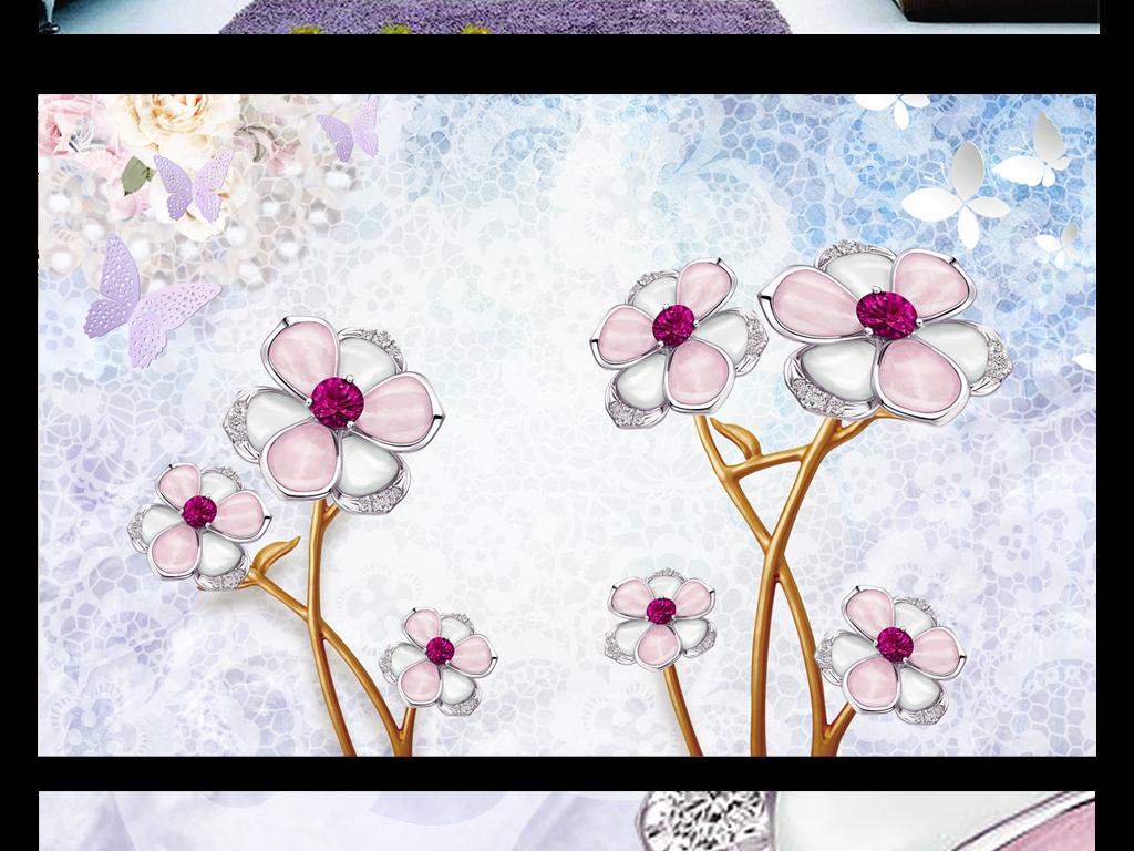 唯美立体欧风珠宝蕾丝背景墙图片