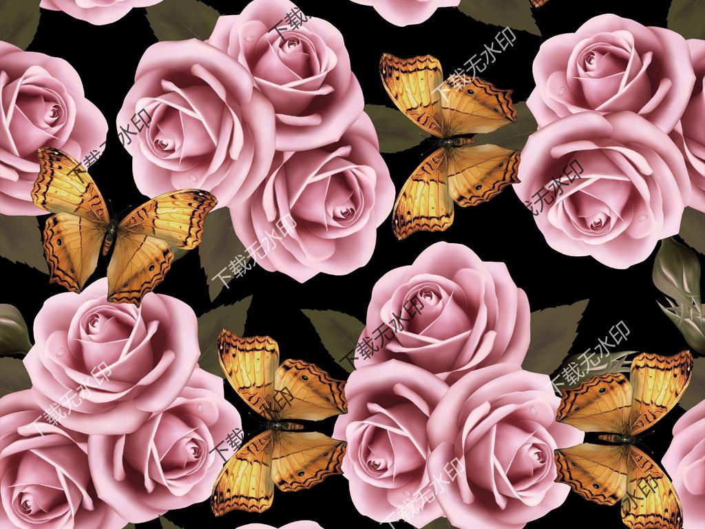 手绘玫瑰花蝴蝶拼图数码印花服装面料花型