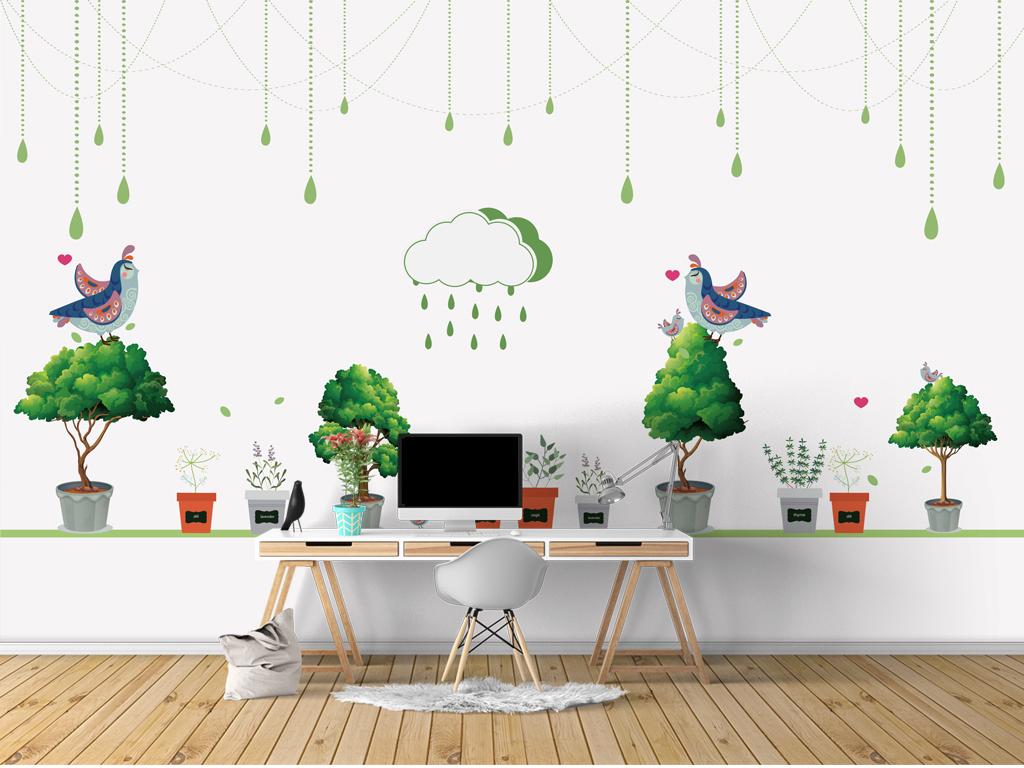 儿童房手绘植物背景墙植物花卉壁纸