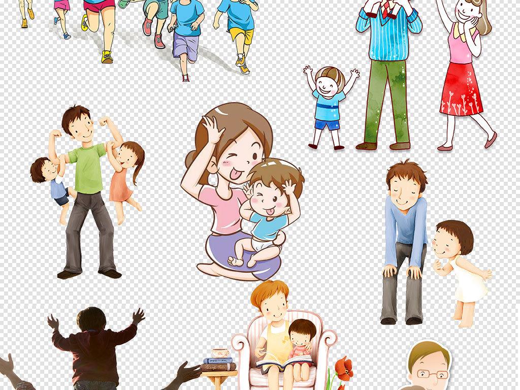 可爱卡通亲子人物形象亲子节海报设计素材