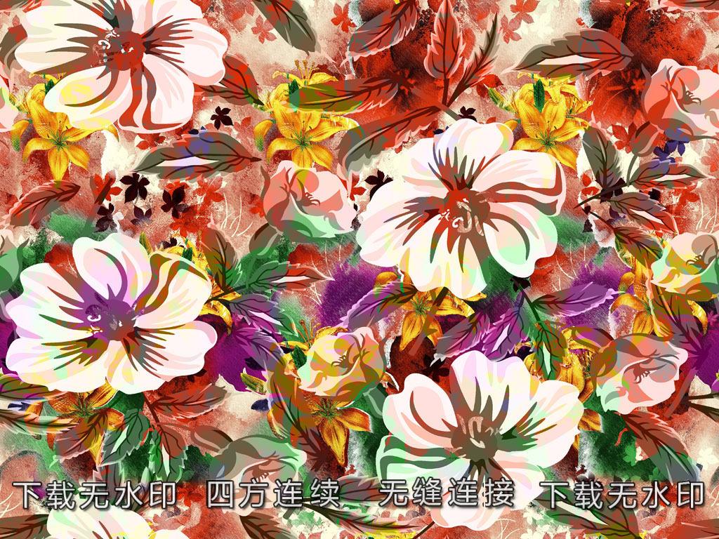 手绘花卉印花图案数码印花服装面料花型设计
