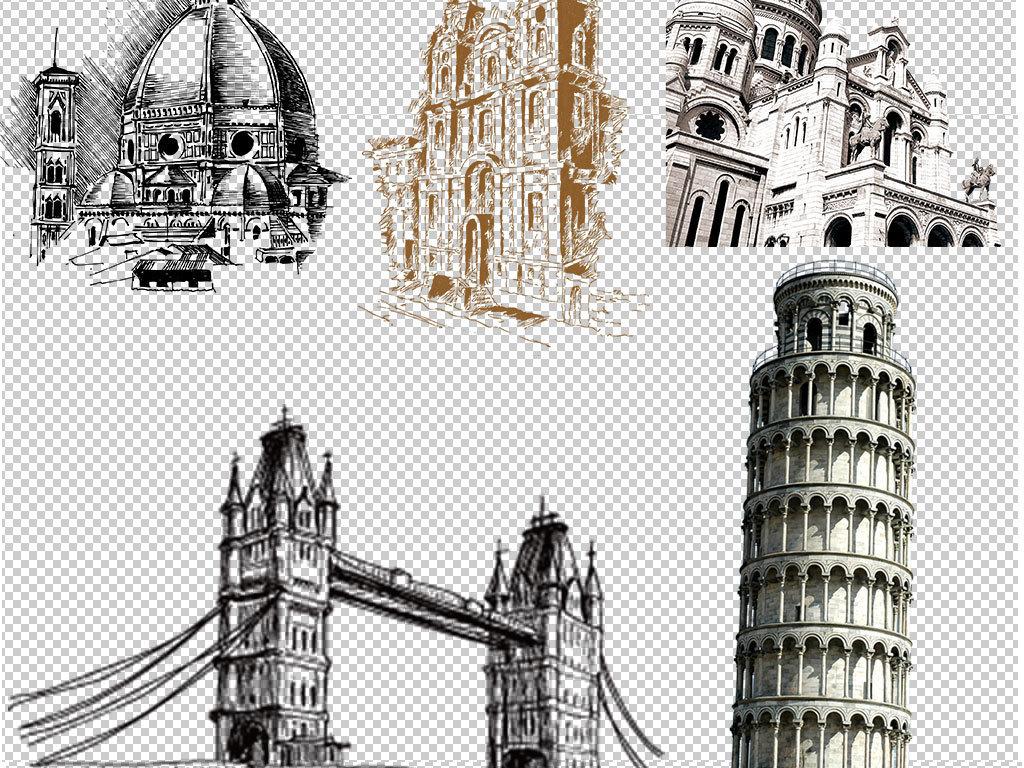 卡通手绘城市手绘城堡图片素材