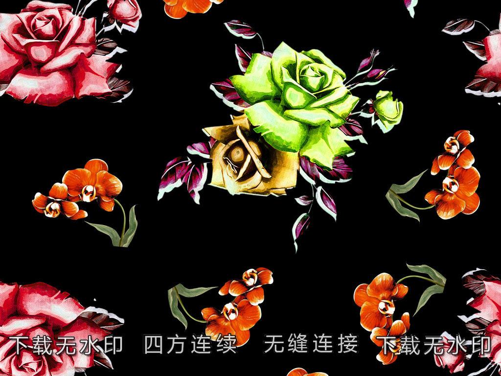 手绘玫瑰花图案数码印花服装面料图案