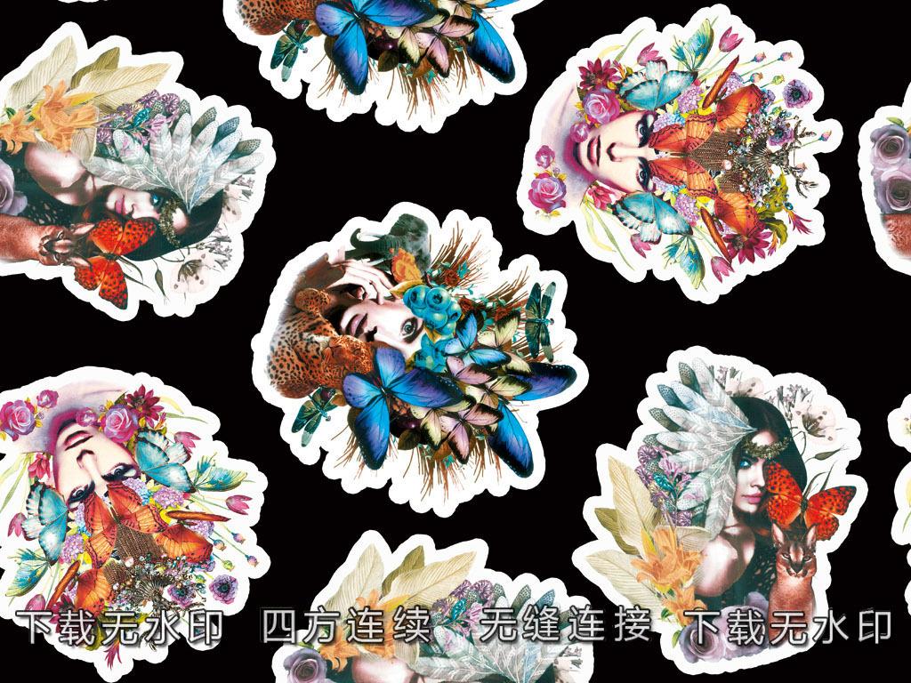 手绘美女蝴蝶图案数码印花服装面料花型设计