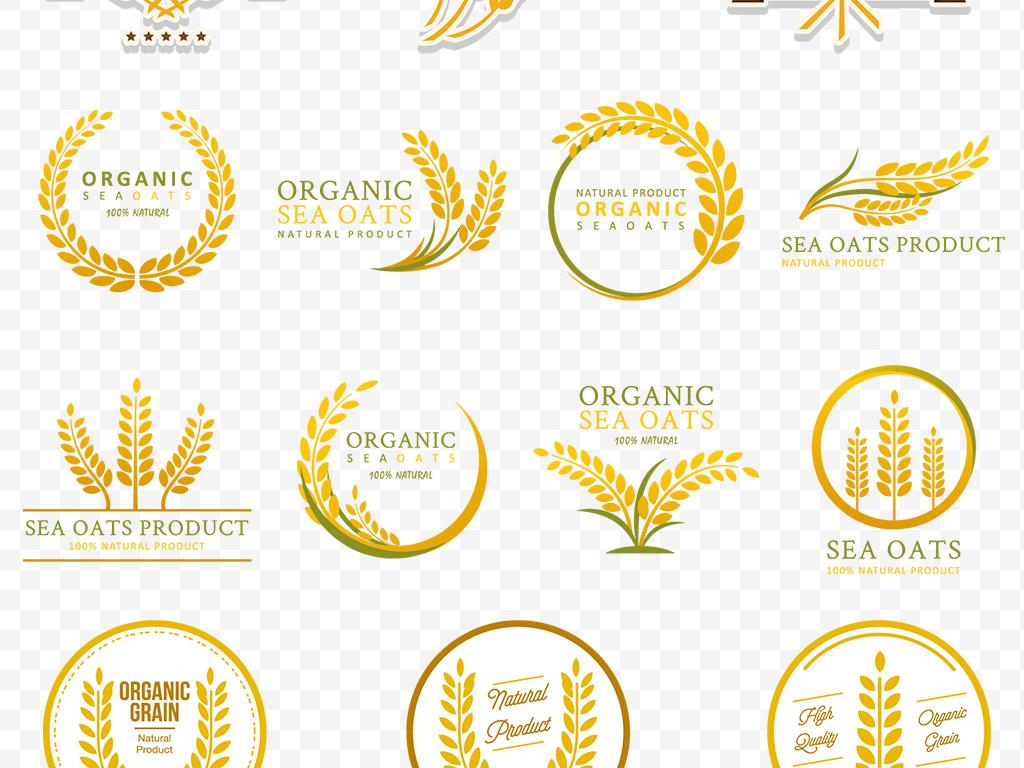 ai)麦穗徽章边框金色麦穗花纹图案麦穗花边矢量图卡通麦穗标志麦穗