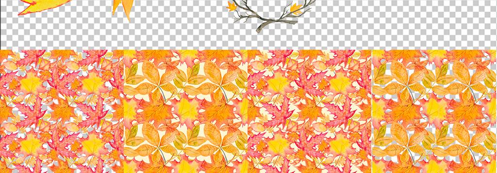 秋天水彩手绘枫叶子花环免抠设计素材