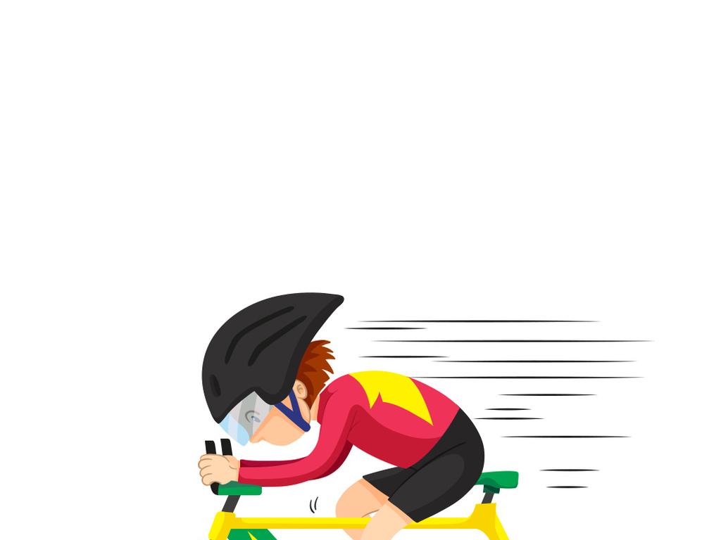 卡通骑行少年骑自行车