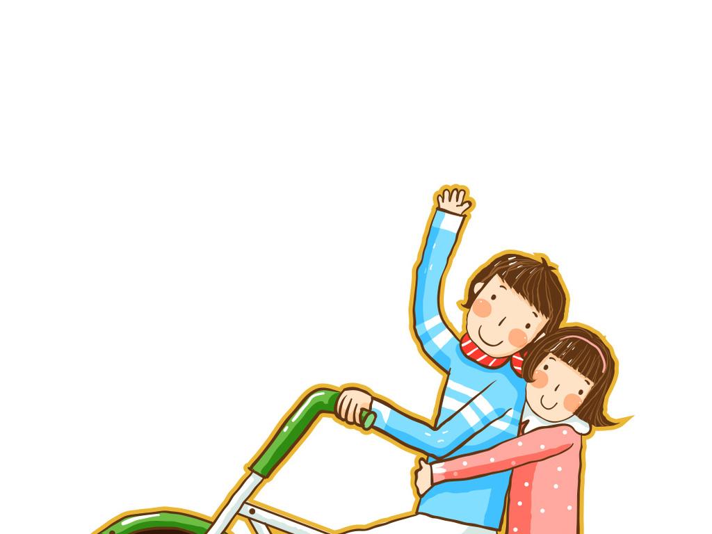 卡通骑行情侣骑自行车图片下载ai素材图片