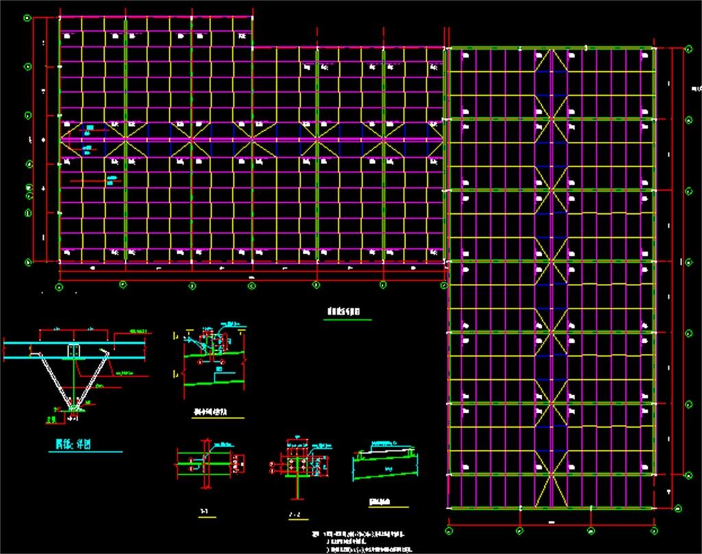 4s汽车专卖店钢结构cad设计施工图
