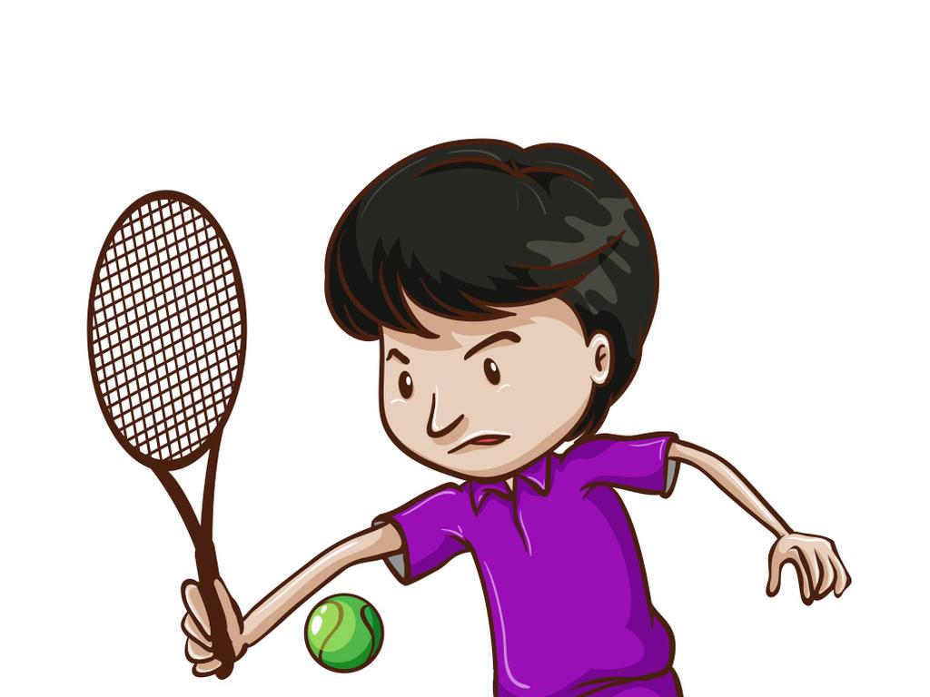 免抠元素 人物形象 儿童 > 卡通运动少年户外打网球  素材图片参数图片