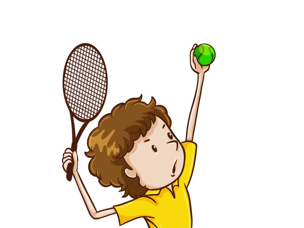 卡通人物运动打网球